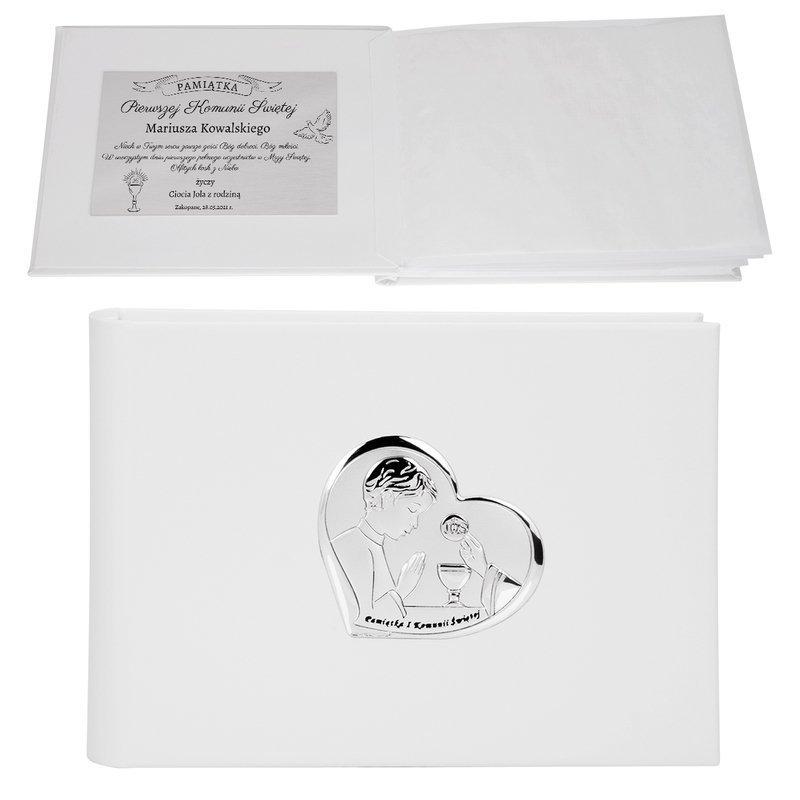 Album na zdjęcia Pamiątka I Komunia Św. Chłopiec serce 925 Dedykacja