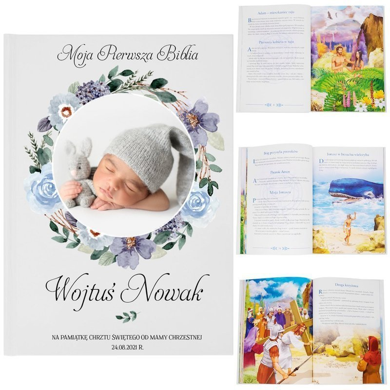 Biblia dla dzieci na chrzest z Nadrukiem pamiątka chrztu
