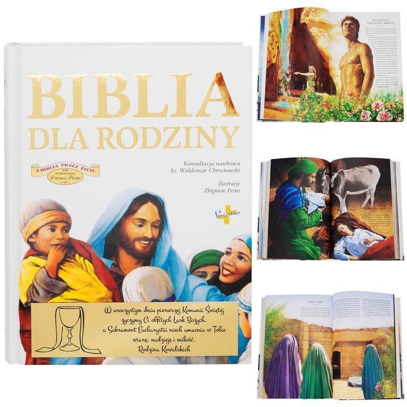 Biblia dla rodziny Chrzest Roczek Komunia Dedykacja