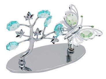 Drzewo z motylem Swarovski z GRAWEREM chrzest roczek Niebieska Kokardka