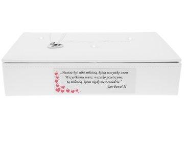 Duża szkatułka z motylami biała Pamiątka na Ślub Rocznicę GRAWER