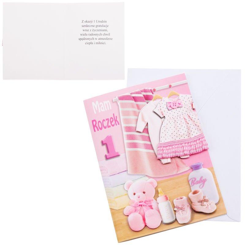 Kartka na roczek dla dziewczynki Miś