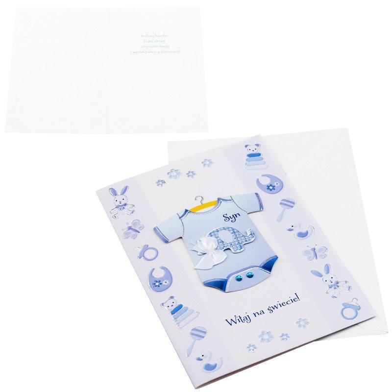Kartka z okazji narodzin dziecka -  Niebieskie Body