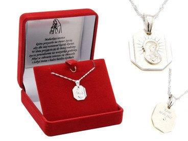 Medalik Madonna Srebro 925 Pamiątka Chrzest GRAWER
