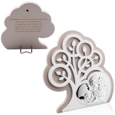 Obrazek Srebrny Drzewo Życia Anioł Stróż Pamiątka Chrztu Grawer