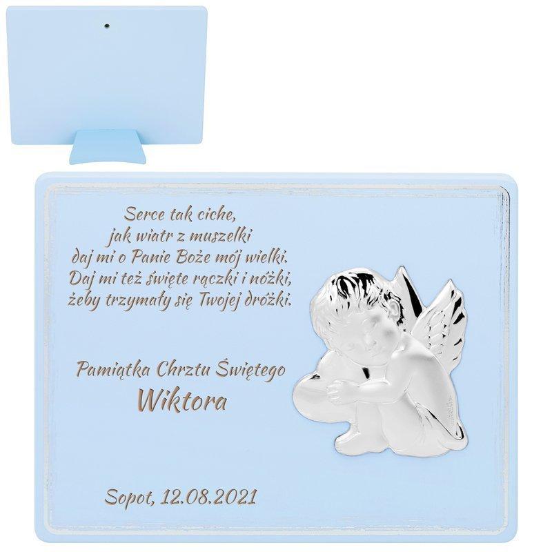 Obrazek na panelu niebieskim Aniołek 11,5x15 cm Grawer