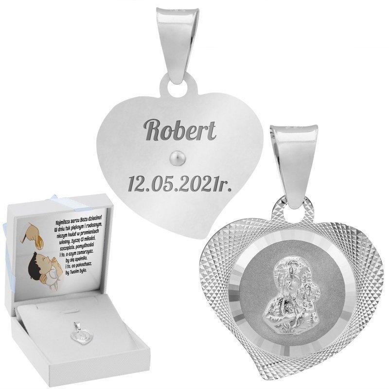 Srebrny Medalik z Matką Boską W Sercu Z Dedykacją