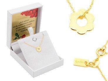 Srebrny Naszyjnik pr. 925 kwiatek złocony z zawieszką i blaszką przy zapięciu 41-44,5 cm GRAWER różowa kokardka