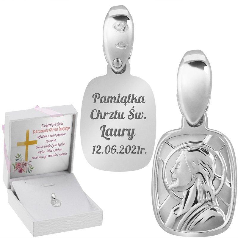 Srebrny medalik Jezus Chrystus Pamiątka na Chrzest GRAWER