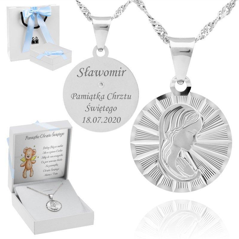 Srebrny medalik pr. 925 Matka Boska Grawer