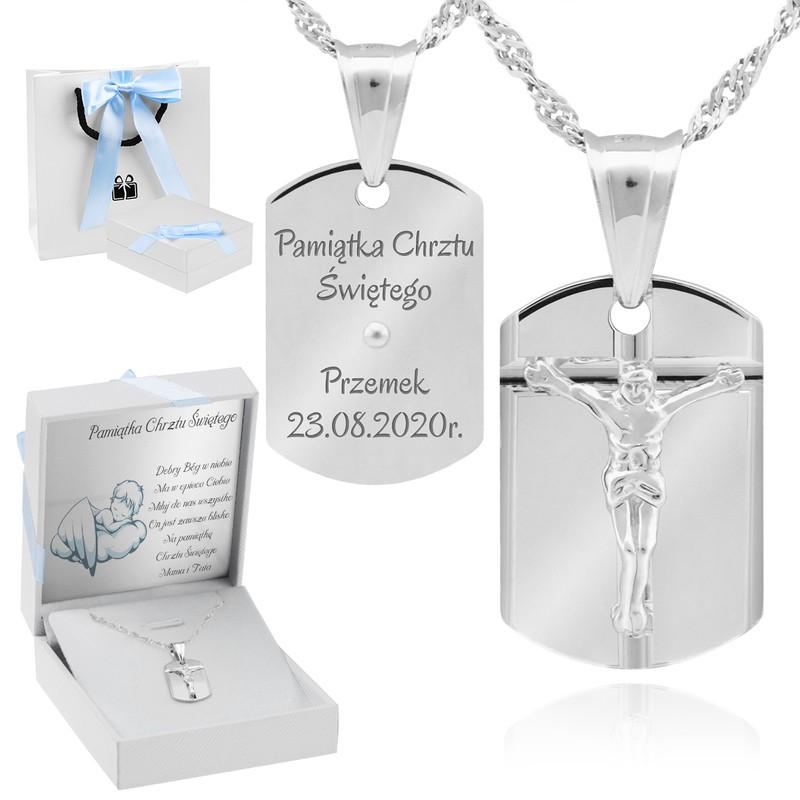 Srebrny medalik z Jezusem pamiątka Chrztu Św. Dedykacja