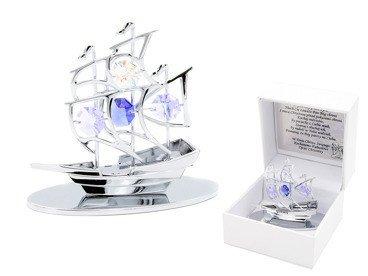 Statek Swarovski Pamiątka z Chrztu Chrzest GRAWER