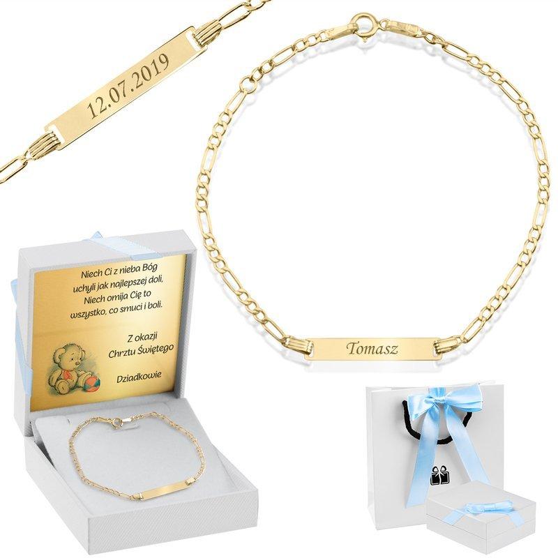 Złota Bransoletka łańcuszek z blaszką pr. 585 Prezent na Chrzest Roczek Grawer Niebieska Kokardka