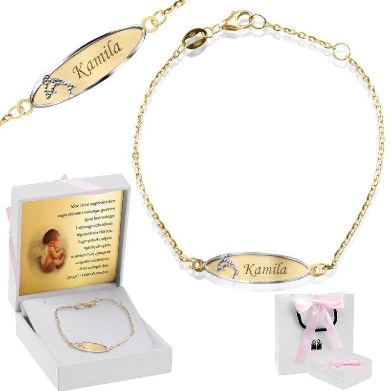 Złota bransoletka łańcuszek z blaszką z delfinkiem pr. 585 z Grawerem