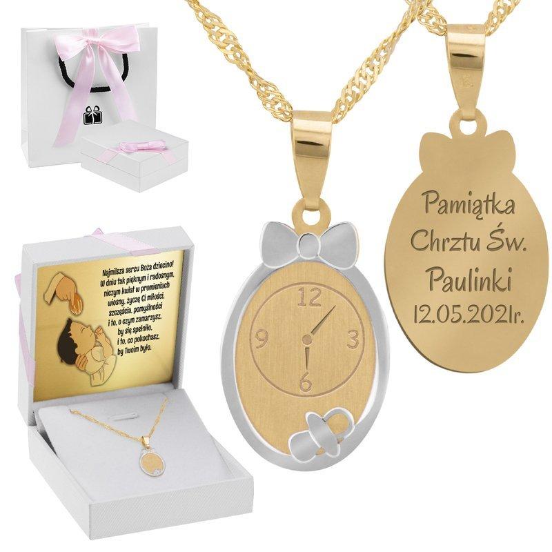 Złoty Komplet pr. 585 Zegar Roczek Chrzest GRAWER różowa kokardka