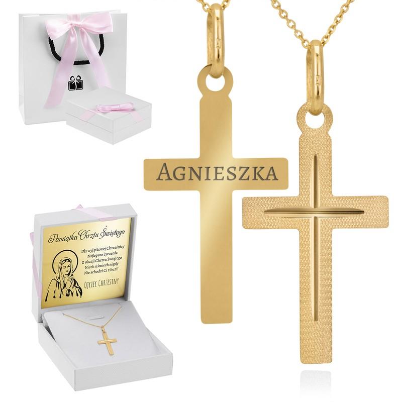 Złoty krzyżyk z łańcuszkiem / pr. 585 / prezent na Chrzest Św., I Komunię Św., Bierzmowanie / z Grawerem