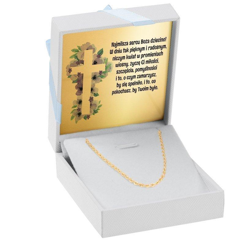 Złoty łańcuszek pr. 333 splot korda, z Dedykacją