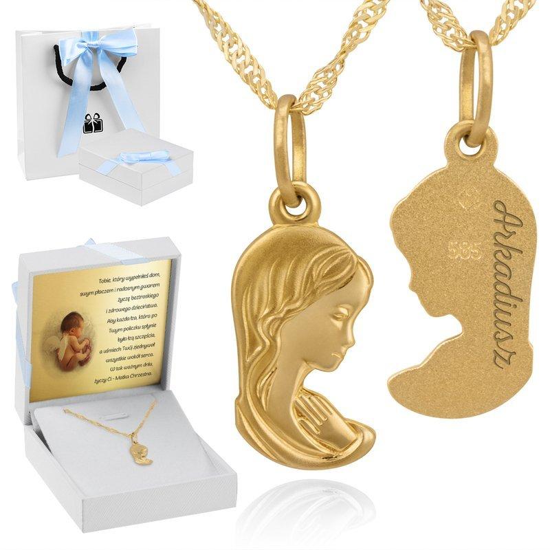 Złoty medalik Matką Boską pr. 585 Chrzest Komunia Bierzmowanie Grawer