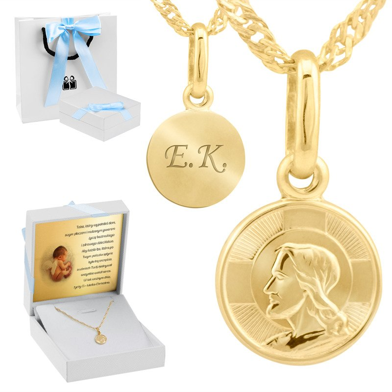 Złoty medalik Pan Jezus próba 585 Grawer