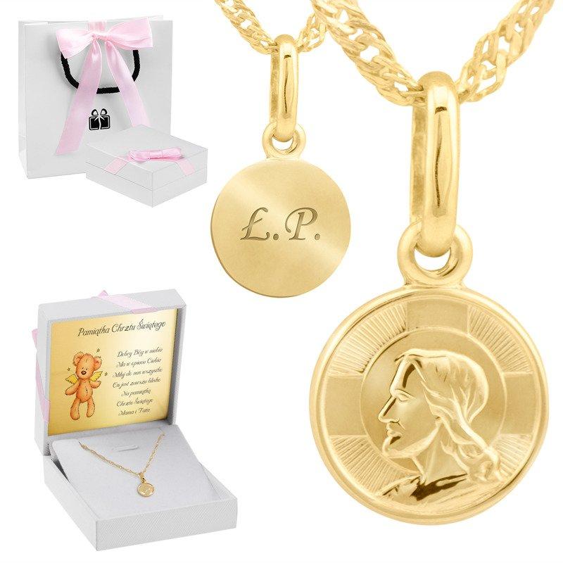 Złoty medalik Pan Jezus próba 585 Prezent z Grawerem
