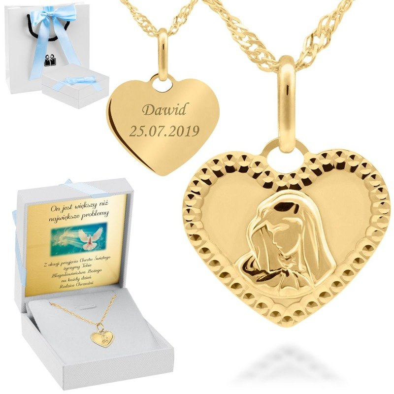 Złoty medalik Serce 585 Madonna Chrzest Komunia Prezent z Grawerem