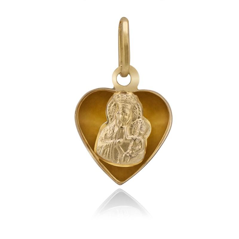 Złoty medalik serce 585 Wypukły tył Grawer