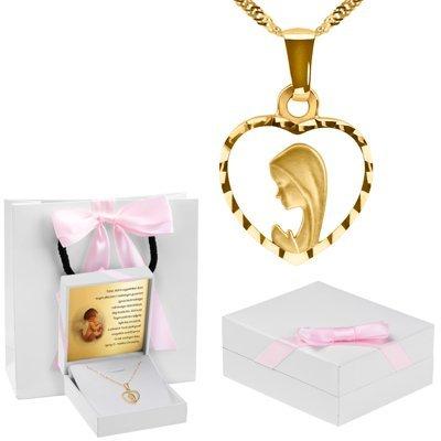 Złoty medalik z Matką Boską w serduszku łańcuszek pr. 585 Dedykacja różowa kokardka