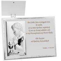 Obrazek Srebrny Biały Panel Chłopiec Pamiątka na I Komunię Św. Grawer