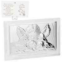 Obrazek Z Aniołem Stróżem Na Chrzest Posrebrzany Duży Grawer