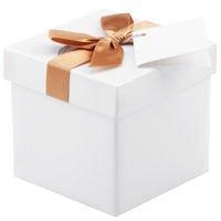 Pudełko na prezent białe ze złotą tasiemką XS