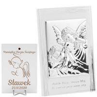 Srebrny Obrazek Anioł Stróż z latarenką 9x13,5 cm Pamiątka na chrzest z Grawerem