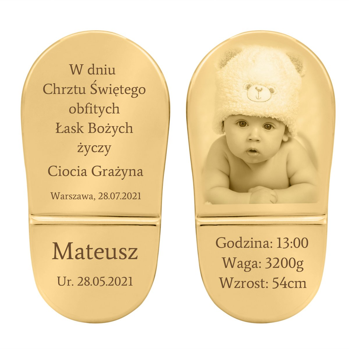 Buciki baletki niebieskie Chrzest Roczek Swarovski GRAWER, TABLICZKA