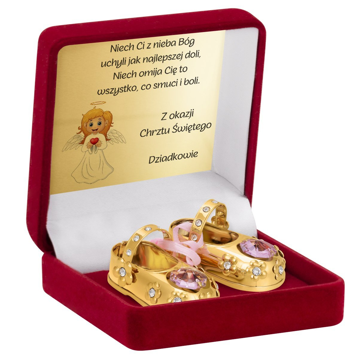 Buciki baletki różowe Chrzest Roczek Swarovski GRAWER, TABLICZKA