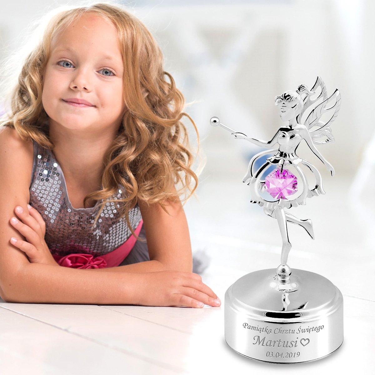 Pozytywka Dziewczynka Elf Swarovski Prezent na Chrzest Roczek GRAWER