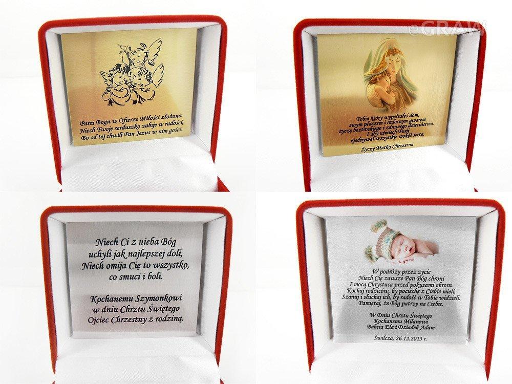 Smoczek Swarovski pamiątka na chrzest Dedykacja