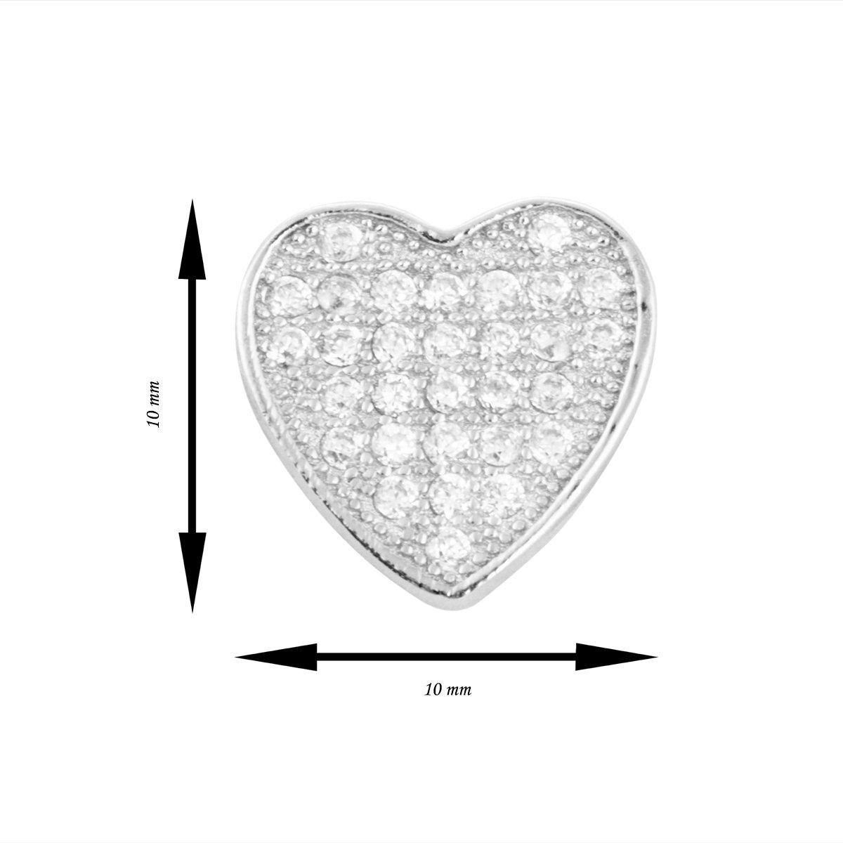 Srebrne kolczyki pr 925 Serce mikrosetting Dedykacja