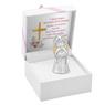 Figurka anioła z sercem, posrebrzana na Chrzest Dedykacja 2