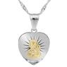 Srebrny medalik z Matką Boską Częstochowską, pozłacaną i łańcuszkiem / pr. 925 / Grawer / różowa kokardka  3