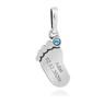 Zawieszka stópka z błękitnym kamieniem srebro 925 PREZENT 2
