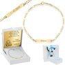 Złota Bransoletka łańcuszek z blaszką pr. 585 Prezent na Chrzest Roczek Grawer Niebieska Kokardka 1