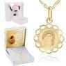 Złoty medalik okrągły ażurowy Matka Boska z Dzieciątkiem DEDYKACJA różowa kokardka 1