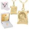 Złoty medalik z łańcuszkiem próba 585 Matka Boska z Dzieciątkiem Chrzest Komunia Grawer 1