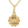 Złoty medalik z łańcuszkiem próba 585 z wizerunkiem Matki Boskiej Chrzest Komunia Bierzmowanie GRAWER różowa kokardka